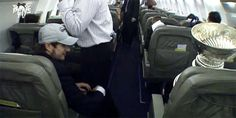 Lol this is so cute, Sid giving the cup lovin on the plane ride home from Detroit after winning the Stanley cup
