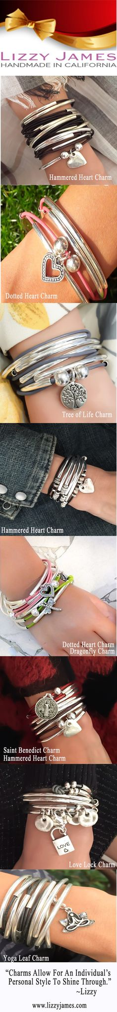 Lizzy James' wrap bracelets & necklaces have been designed with an individual's personal style in mind.  To accent that individual style, Lizzy has created a line of 100+ charms that can be added to any one of the wrap bracelets and necklaces.  Show your individual style with one or two or more of Lizzy James's charms!  Enjoy your personal charmed life!  #LizzyJamesInc