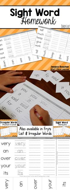 Sight Word Homework. Send home one page per week. Students read it, trace it, write it and write it without looking. Also includes flash cards for students to review the words.