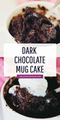This dark chocolate mug cake is, well, a dark chocolate version of my famous chocolate mug cake that everyone loves. You gotta have options when the craving hits! Famous Chocolate, Dark Chocolate Cakes, Chocolate Mug Cakes, Recipe For Chocolate Mug Cake, Chocolate Desserts, Vegan Desserts, Mug Recipes, Cake Recipes, Dessert Recipes
