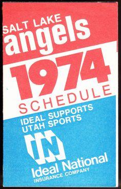 1974 SALT LAKE ANGELS IDEAL INSURANCE BASEBALL POCKET SCHEDULE EX+NM FREE SHIP #PocketSchedules