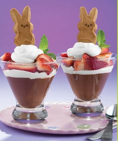 Chocolate Peep-topped chocolate pudding parfaits.