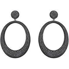 Swarovski Stone Larget Jet Hematite Pierced Earrings