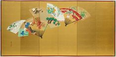 Birds, flowers and figures on scattered fans (2) Kamisaka SEKKA  (1866–1942)