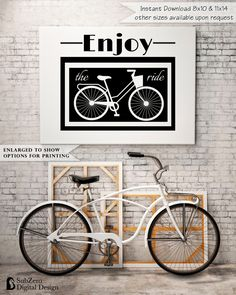 Enjoy the Ride Vintage Bicycle - A great gift OR home decor item. Frame this vintage bicycle print or have it printed on canvas.  by SubZero Digital Design on Etsy