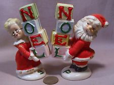 "Vintage Napco Mr. & Mrs. Claus Holding ""Noel"" Boxes S&P Shakers"