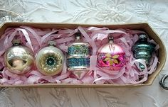 vintage ornaments in pretty colors