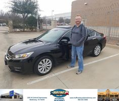 Huffines Hyundai McKinney Customer Review  Antoine was extremely professional and very knowledgeable about the car that I was looking for.  He took the extra effort to ensure that the car was available once I pulled up to the dealership.  Antoine's all- round professionalism was a strong reason why I decided to move forward in the purchase of the 2014 Honda Accord.  He definitely went above and beyond on all levels!      Trent…