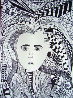 Zentangle Hair - student work - Keante Zentangle, Middle School Art Projects, Art, Visual