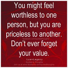 You might feel worthless to one person, but you are priceless to another. Don't ever forget you value. ~ Luan Legacy ~