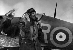 RAF No. 71 'Eagle' Squadron pilot Gus Daymond preparing for take-off, he was an ace with 6 victories.
