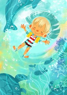 This is a bright eye catching illustration. They are using bright colours and the child looks happy and relaxed while floating above the water.