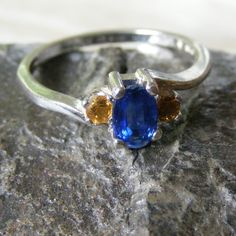 Ring in Sterling Silver with Nepalese Kyanite & Citrine Gemstones £34.50