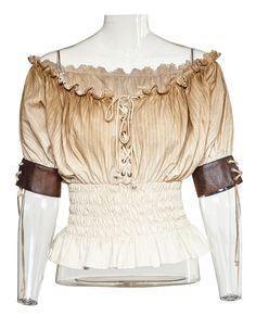 Top beige vieilli épaules nues élastique avec laçages, western retro pirate steampunk