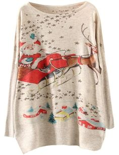 Apricot Santa Claus Deer Print Loose Sweater | www.ustrendy.com    #USTrendy
