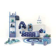 Smallstuff babysengetøj, blå m multi striber og stjerner