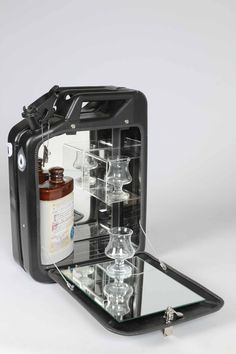 Danish Fuel, repurposed jerry can mini bar, wall mountable.