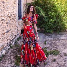 Print summer bohemian beach dress spaghetti strap crop tops maxi dress women dresses vestidos verano plus size red Looks Chic, Looks Style, Vestidos Con Crop Top, Vestido Maxi Floral, Floral Skirts, Pleated Skirts, Boho Womens Clothing, Womens Fashion, Fashion Trends