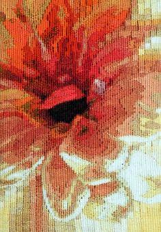 """Jane Freear-Wyld """"Dahlia I"""" 7.5"""" x 5.5"""" woven tapestry, STI 2"""