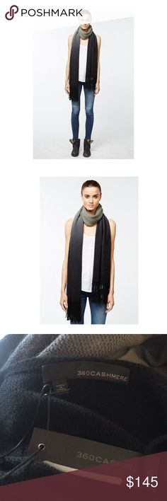 """360 Cashmere Crenshaw Scarf NWT Soft and luxurious ombré Cashmere scarf by 360 Cashmere. Dip dyed and finished with fringe. 100% Cashmere. Apprx 100"""" L x 20""""W with fringe zBrand new with tags 360 Cashmere Accessories Scarves & Wraps"""