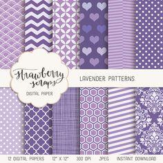 Lavender patterns digital paper - Strawberry Scraps