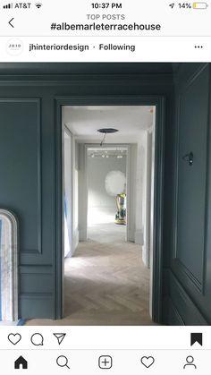 Farrow and ball inchyra blue Inchyra Blue Farrow, Farrow And Ball Inchyra Blue, Green Paint Colors, Wall Colors, Farrow And Ball Bedroom, Townsend Homes, Blue Hallway, Living Room Update, Home Office Decor