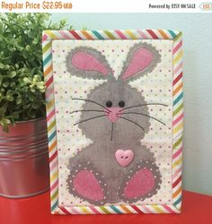 FLASH SALE - Bunny~ Mug Rug Pre-Cut Applique Kit, Sewing Kit Fast Shipping K119