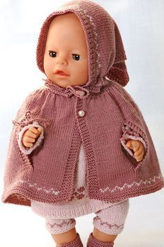 Baby Knitting Patterns Poncho Baby Knitting Patterns Knitting a great tunic in lilac and pink for your … Baby Knitting Patterns, Kids Patterns, Knitting For Kids, Knitting Dolls Clothes, Knitted Dolls, Doll Clothes Patterns, Crochet Poncho, Crochet Baby, Baby Born Clothes