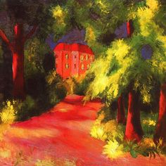 Red House in a Park August Macke Check more at http://artunframed.com/Gallery/shop/red-house-in-a-park/