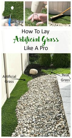 How To Lay Artificial Grass Like A Pro – A Pretty Fix Learn just how easy it is to lay artificial grass at home. For easy maintenance for your front lawn, backyard or any outdoor living, this DIY project is simple to execute. Great for beginners. Laying Artificial Grass, Jardin Vertical Artificial, Artificial Plants, Artificial Grass Ideas Small Gardens, Fake Plants, Artificial Flowers Outdoors, Artificial Putting Green, Artificial Grass Installation, Front Yard Landscaping