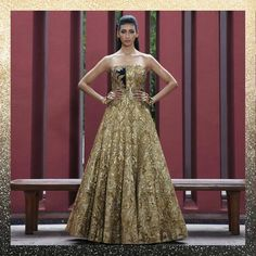 #metallic #metalliclehenga Engagement Dress For Female, Indian Engagement Dress, Engagement Dresses, Lehenga Skirt, Anarkali Gown, Gold Gown, Cocktail Gowns, Indian Suits, Indian Couture