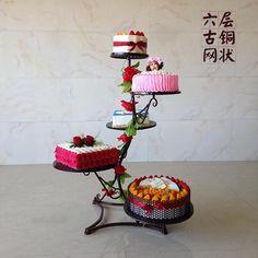 The new European wrought iron cake five six layer mesh dessert multilayer shelf wedding wedding of fruit cakes