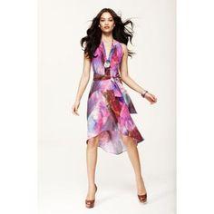 Neck Silk Tunic Dress
