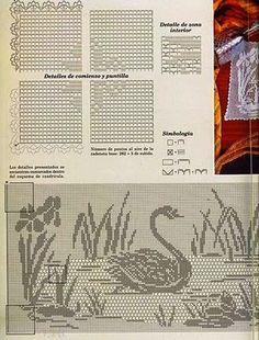crochet kingdom (E.H): Swan . symbol & a mascot of love and fidelity ! Filet Crochet Charts, Crochet Motifs, Free Crochet, Crochet Baby, Knit Crochet, Fillet Crochet, Crochet Birds, Crochet Curtains, Mermaid Tails