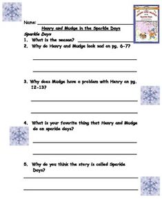 """This is a comprehension packet to use with the book """"Henry and Mudge In The Sparkle Days"""" by Cynthia Rylant.  You can use this during guided reading or for independent work.  I usually use this for my middle and high groups in first grade.  I use this to teach children how to write answers in complete sentences."""