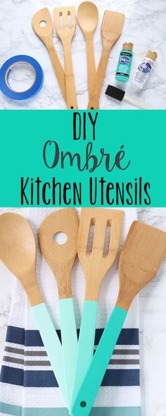 These ombre painted wooden spoons are such an easy DIY and look great as kitchen decor on the counter.