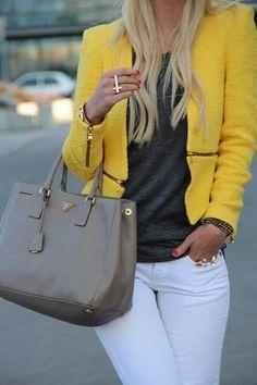 Prada handbag in grey, grey tee & yellow cardigan.