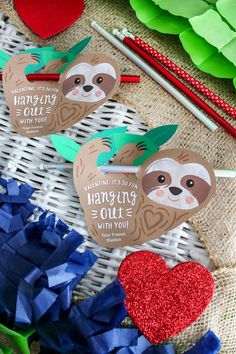 sloth valentine, sloth kids valentine, sloth with pencil, valentine, kids valentine, printable valentine, sloth, free printable, classroom valentine, school valentine, Just Add Confetti, It's so fun hanging out with you