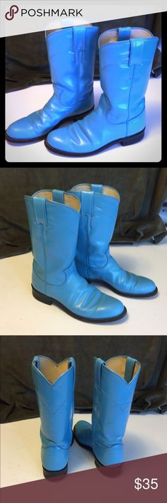 Justin Blue Women's Cowgirl Boots Good condition. A few minor marks on the toes. Leather Soles. Justin Boots Shoes Heeled Boots