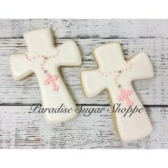 Cross with Rosary Communion Baptism Decorated Cookies - 1 Dozen Royal Icing Cookies, Cupcake Cookies, Sugar Cookies, Cupcakes, Christening Cookies, Cross Cookies, First Communion Cakes, Cookie Time, Cookie Designs