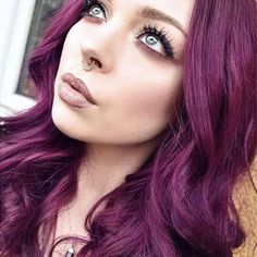 A solid rose gold septum piercing with tons of mystical presence. The perfect jewelry for beautiful free spirits. Pelo Color Morado, Rose Gold Septum Ring, Cool Hair Color, Hair Colors, Nose Jewelry, Grunge Hair, Pretty Hairstyles, Scene Hairstyles, Dyed Hair