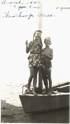 Sylvia and Warren Plath on a sailboat in Winthrop, Massachusetts, August 1940, three months before Otto Plath's death.