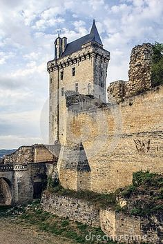 The Castle of Chinon French: Château de Chinon one of the castles of the Loire located in Chinon. It is a medieval fortress overlooking the River Vienne. Medieval Fortress, Medieval Castle, Chateaus, Architecture Old, France, Abandoned, Scotland, Landscapes, Places To Visit