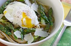 Asparagus and Poached Eggs over Pasta — Punchfork