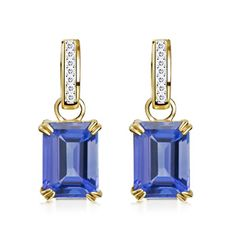 Emerald Cut Tanzanite and Round Diamond Frame Drop #Earrings