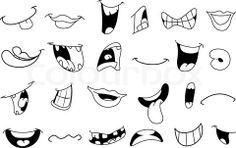 Vector of 'Outlined cartoon mouth set'