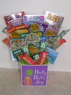 A lotto cash gift basket for an 18 yr old's Birthday