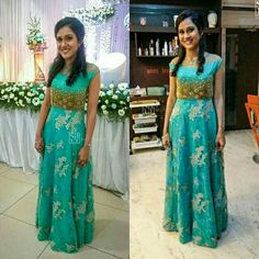 Turquoise blue party wear with lace neck