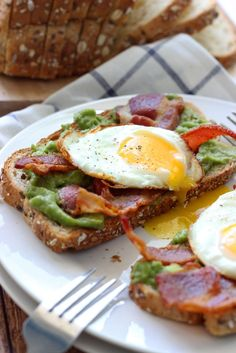 This open-faced breakfast sandwich