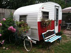 vintage trailer in the backyard